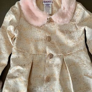 lightweight Brocade and pink faux fur jacket
